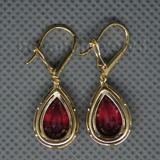 14K YELLOW GOLD NATURAL RED RUBY DIAMOND ENGAGEMENT Wedding GEM  EARRINGS