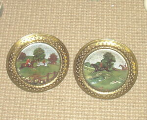 Vintage Brass & Foil Wall Plate Art Made In England - Fox Hunting Scenes
