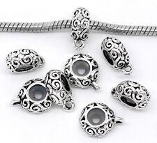 20Pcs Silver Tone Rubber Stopper Bail Spacer European Beads Fit Charms Bracelets