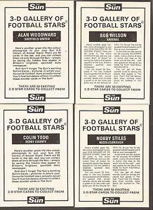 1972 SUN 3D GALLERY OF FOOTBALL STARS CARDS - PICK A CARD
