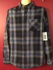 VINTAGE RED Men's Blue/Grey Plaid Casual Button Up Shirt - Size Small - NWT