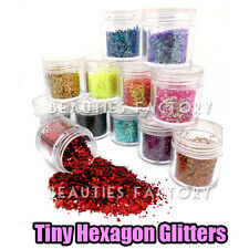 12 MULTI COLOURS SPARKLE GLITTER DUST POWDER HEXAGON NAIL ART DECORATION #421