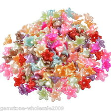 "200PCS Wholesale Lots Mixed Flower Acrylic Spacer Beads 13x13mm(4/8""x4/8"") GW"