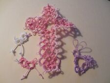 Tatted Cross Bookmarks Pale and Bright Pink Gift Bible Tatting By Dove Country