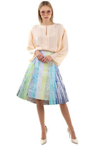 RRP €1310 PETER PILOTTO Trapeze Skirt Size 12 / L Embroidered Mesh Printed