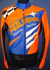 POLARIS RACING JACKET Cafe Racer LEATHER Men Size Medium Vintage Snowmobile Coat