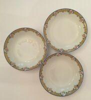 Union Ceramique Limoges France Fruit Dessert Bowl Pattern UNC 141 Set Of 3
