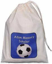 Personalised Blue Football- Asthma Inhaler & Spacer bag 25x35cm drawstring EMPTY