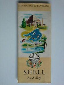 Shell road map Melbourne & Environs 1959 inc. Bellarine & Mornington Peninsulas