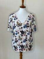 Ann Taylor LOFT Floral XL Short Sleeve V-Neck White Blue Women's Top Shirt NWT