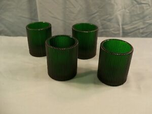 Set of 4 Emerald Green Glass Ribbed Design Votive Candle Holders