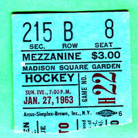 SCARCE! 1963 NY RANGERS/TOR MAPLE LEAFS NHL HOCKEY TICKET STUB @ MSG