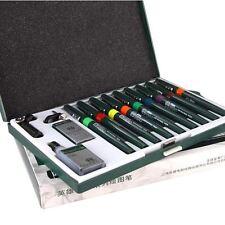 -UK- Refillable Technical Drawing Pens Needle Pen Set 0.1-1.2mm (9 Pens)