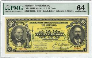 P-S1046 1915 20 Pesos, Mexico, Revolutionary PMG 64 Nice
