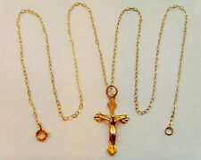 9ct Gold Crucifix Cross Pendant Complete With A Chain