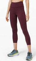 "Lululemon High Rise Crop 23"" and 19"" Cassis Nulux Fabric NWT FREE SHIPPING"