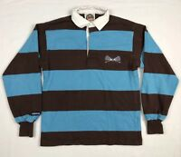 01346371 Barbarian Mens XS Brown/Light Blue Striped Lacrosse L/S Rugby Polo Shirt C4