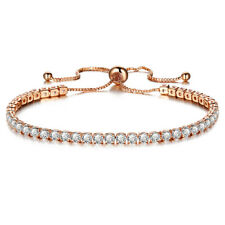 Pretty Jewelry Adjustable Bracelet 2mm AAA Zirconia Gold Color Chain Cuff Bangle