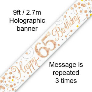 Shiny Rose Gold & White 65th Birthday Banner Party Decoration Age 65 Garland