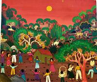 ROOSEVELT SANON Important HAITIAN OUTSIDER ARTIST Signed Oil LISTED Celebration