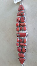 Artisan Crafted 925 Sterling Silver Coral Stone Link Bracelet