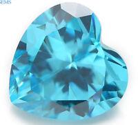 12x12MM 7.89CT AAAAA Natural Heart Sea Blue Zircon Diamonds Cut VVS Loose Gems