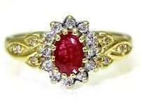 Quality Ruby & 0.15ct Diamond Cluster 9ct Yellow Gold Ring size L  ~ 5 3/4