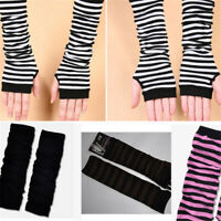Striped Knit Arm Sleeve Warmer Long Fingerless Gloves Mitten Cover Ladies