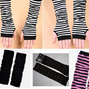 Women Striped Knit Arm Sleeve Warmer Long Fingerless Gloves Mitten Cover New