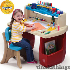 Kids Art Desk Table with Chair Set Small Toddler Play Room Children Study Child