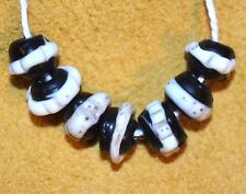Antique Venetian Black Lampwork Dog Tooth Ruffle Italian Beads, African Trade