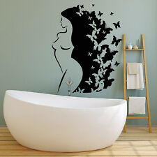 Vinyl Wall Decal Naked Abstract Girl Long Hair Butterfly Stickers (2043ig)