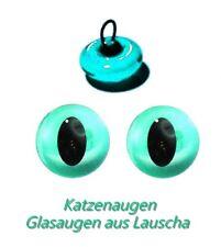 1 Paar Lauschaer Glasaugen Katzenaugen lange Pupille zum Annähen türkis 10 mm