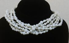 Monet Vintage Collectible White Lucite Designer Signed 6 Strand Necklace 1980's
