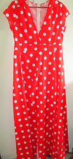 Ladies Size L Short Sleeve Dress Red White Polka Dots Unined Waist Down Split