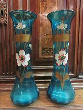 ancienne paire de vases tubulaires verre coloré bleu decor floral peint fin 19e