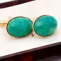 Vintage - CZECH 1950s Green Peking Marble Glass - Oval Gold Plated Cufflinks