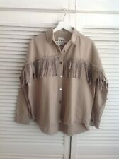 ZARA DENIM JACKET WITH FRINGE, RHINESTONE APPLIQUÉS AND SNAP BUTTONS SIZE XS