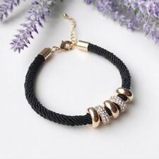 Women Ladies Rhinestone Crystal Charm Plated Beads Bracelet Rope Chain Jewelry F