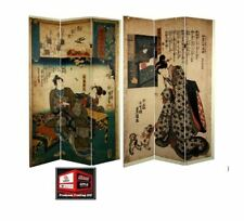 New, Oriental Furniture 6 ft. Double Sided Japanese Figures Room Divider *WH-B5*
