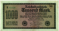 1923 GERMANY / WEIMAR REPUBLIC / 1000 MARK / HYPERINFLATION MARK   #RM37