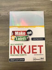10 A4 Premium HOLOGRAPHIC Self Adhesive INKJET Printable PP Film Sticker Sheets