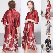 Women's Silk Satin Robe Long Crane Floral Sleepwear Kimono S8 Pajamas Nightgown