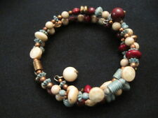 Memory Wrap Beaded Bracelet in Brown, Wine, Beige, and Turquoise Colors