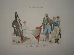 RARE Gravure CARICATURE LE BON GENRE MODE CONSULAT EMPIRE JOCKEY FASHION HOMME B