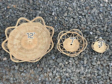 Vintage Thai Handicraft Wicker Crafts Rattan Tray Food Fruit Serving flower Shap