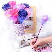 Lovely Rose Flower Handcrafted Plastic Ball Pen Ballpoint Stationary Gift  12PCS