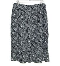 Jones New York - 8 (M) - B&W French Country Floral Print Ruffle Hem Pencil Skirt