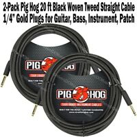 2-Pack PIG HOG 20 ft BLACK WOVEN GUITAR INSTRUMENT PATCH CABLE 1/4 CORD PigHog
