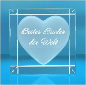 Glaswürfel mit Herz - Text:  Bester Bruder der Welt